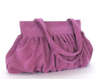 Pleated handbag purse in deep dusty pink,large vegan handmade shoulder bag ,shoulder purse ,gift for her, shoulder tote bag , fabric handbag