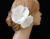Wedding Hair Flowers, Retro Hair Flowers, Wedding Headpiece,  Bridal Hair Clip, Ivory Wedding Hair Flower Set of Two