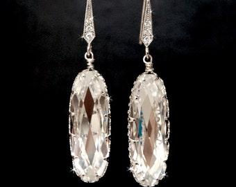 Wedding Earrings, Bridal Jewelry, Chandelier Swarovski Crystal Cubic Zirconia Drop Earrings, Wedding Accessories