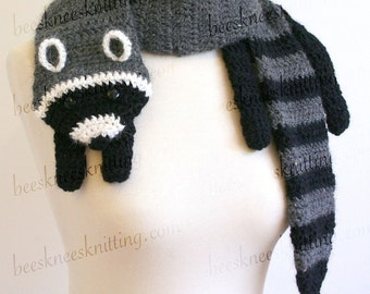 Digital PDF Crochet Pattern for Raccoon Scarf - DIY Fashion Tutorial - Instant Download - ENGLISH only