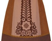 strudel skirt - shades of brown - modern folkloric floral screen print texture mix skirt with ric rac trim