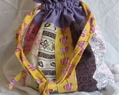Fabric Drawstring Bag Project Bag Tote Striped Pastel Flowers
