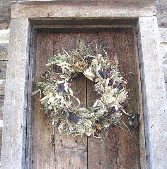 INDIAN CoRN HuSK WREATH  large size for autumn wall or door decoration