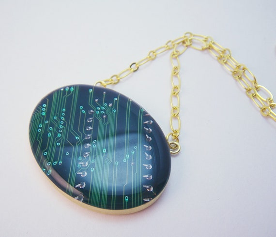 Circuit Board Necklace Recycled Emerald Green Geeky Gift Under 50