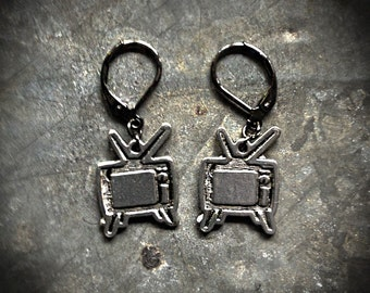 Rabbit Ear Television Earrings - Pewter and Gunmetal