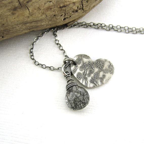 Wire Wrapped Necklace Black Tourmalinated Quartz Pendant Heart Charm Gemstone Jewelry Autumn Fall Fashion