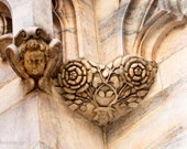 Italian Heart and Angel, Duomo Di Milano, Cathedral of Milan Detail, Flowers and hearts, Valentine, Greeting Card or Photograph