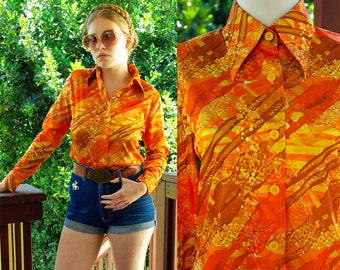 ABSTRACT 1970's Vintage Golden Orange and Yellow Polyester Button Down Disco Shirt size Medium with Pointed Collar by Contessa
