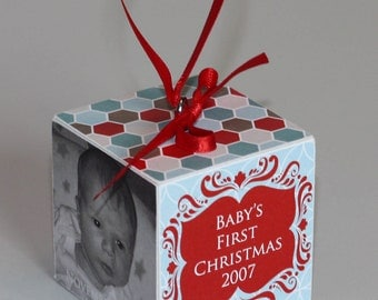 Baby's First Christmas Wooden Block Ornament Red and Teal Delight