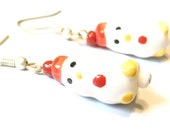Sale save 10% White Chicken Earrings -- Porcelain Beaded Glass Bird Earrings -- Handmade Jewellery Kawaii Earrings