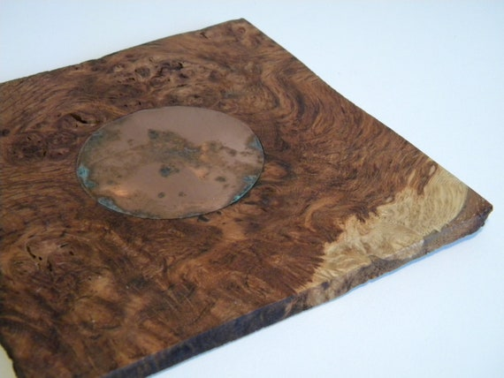 HMS Victory Burr Oak coaster with copper rivet