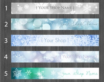 Winter Shop Banner for Etsy, Snow Cover Photo, Frozen Frost Snowflake Bokeh Blue Silver Snow