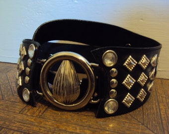 Vintage 80s Studded Black Cinch Belt