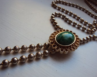 Vintage 70s Green Avon Tassel Bolo Necklace