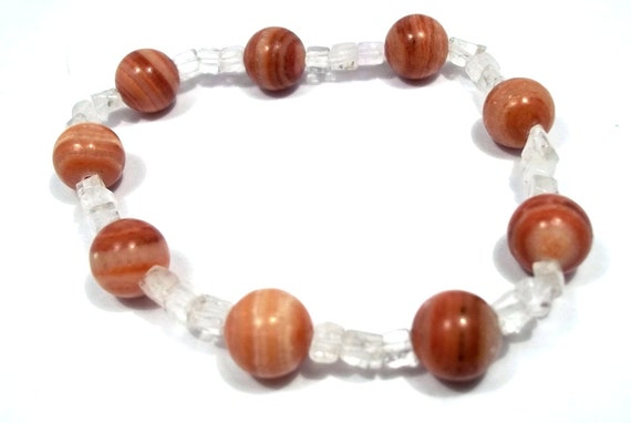 Red Malachite Stone : Red malachite and clear quartz gemstone bead stretch bracelet
