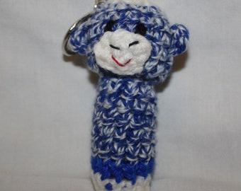 Sock Monkey chapstick cozy keychain - royal blue with blue band