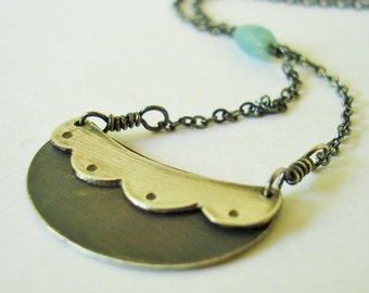 Sweet Scallop Cresent Necklace FREE SHIPPING Recycled Silver layered texture contrast handmade blue amazonite