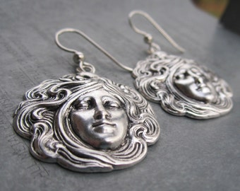Art Deco Lady Round Stamped Earrings on Sterling Silver Ear Wires by Heidi Urbanski