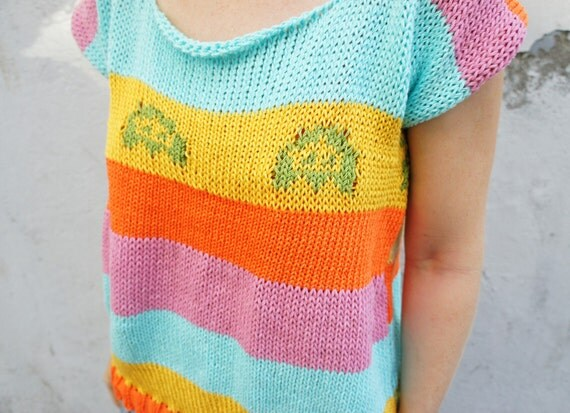 Rainbow cotton knit loose fit sweater with pixel pattern and open back