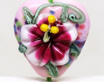 Made to order Margo lampwork beads flowery heart