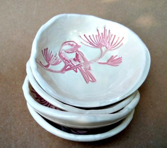 Four Ceramic Hand Built Pottery Bird Prep Dipping Sauce Bowls