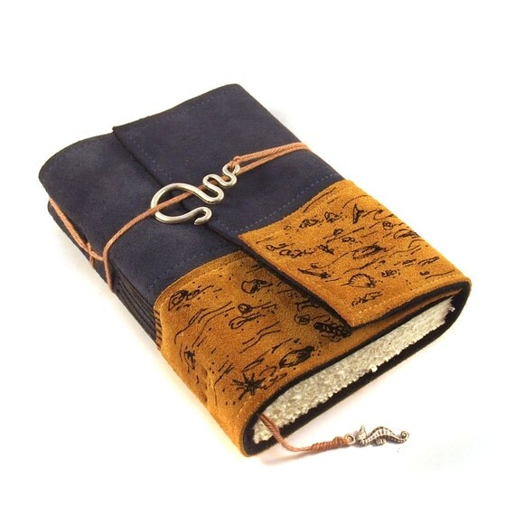 Handmade leather journal,  Suede, At the Beach