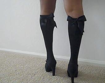 Satin Ribbon Bow Knee Socks - Knee High Socks - Knee Socks - Black Knee High Socks - Womens Knee Socks -