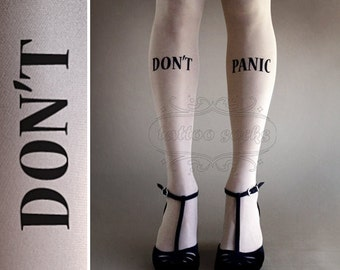 Don't Panic gorgeous thigh-high tattoo stockings White