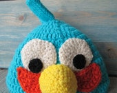 Angry Birds Blue Bird Crochet Pattern Beanie Hat Mad Grouchy