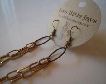 Earrings Long Chain Repurposed Vintage Chain Earrings in Black