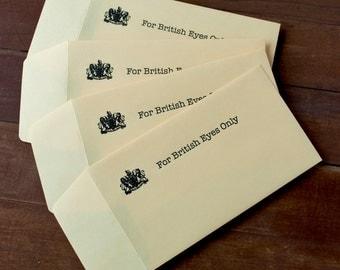 For British Eyes Only - Gift Card Holder - Arrested Development - Funny Birthday Gift Envelopes - Letterpress Printed