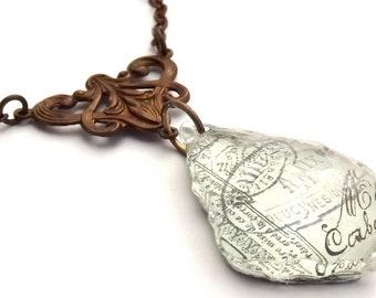 Altered Chandelier Crystal Pendant Vintage Inspired Brass Necklace