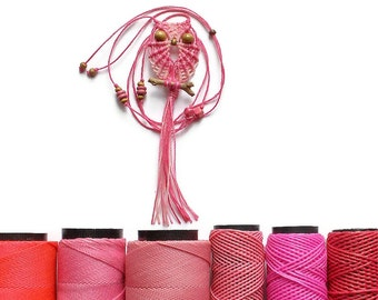 Pink of Shades Macrame Owl Necklace, Women, Textile Jewelry, Adjustable, Cute, Gifts Under 15, Gift For Her, Owl Pendant Necklace, macraMe