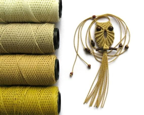 Wheat Macrame Owl Necklace