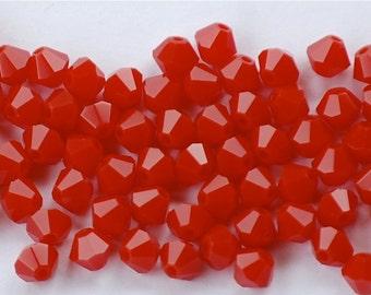 4mm DARK CORAL RED Swarovski Crystal Bicone Beads (25) CRY1