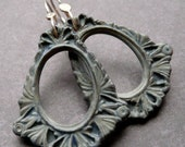 Porcelain Earrings - Victorian Frames in Stone Blue