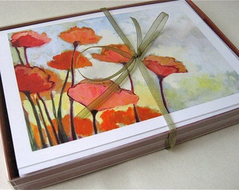 Playful Poppies - set of 6 Blank Note Cards by Jenlo
