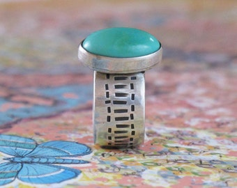 Turquoise Sterling Silver Ring Cabochon Hand Fabricated DJStrang Southwestern Boho Chic Blue Green