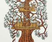 Treehouse Woodcut Print