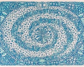 Galaxy Map - Woodcut Print, Woodblock Print by Tugboat Printshop