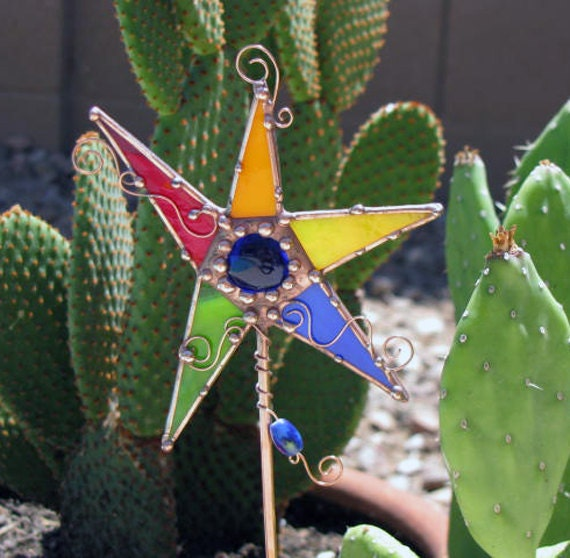 Stained Glass Star Plant Stake Garden Art Copper Wire Primary colors