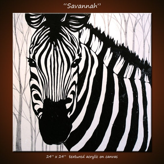 "Original Large Abstract Painting Modern Contemporary Zebra Animal Impasto Texture ... 24"" x 24"" ... Savannah"