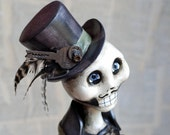 OOAK Steampunk Skeleton Mixed Media Art Doll - RachelWhetzel