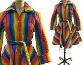70s Rainbow Stripe Quilted Cotton Coat