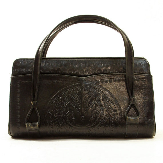 70s Tooled Leather Purse / Mexican / Southwest / Hippie