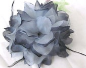 Large Gray Flower  Hair Clip /Brooch With Feathers