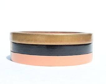 Adele Skinny Bangle Set/ Wood Bracelet Trio/ Stacked Bangles/ Painted/ Pastel/ Gold/ Bands of Color/ xs-xl