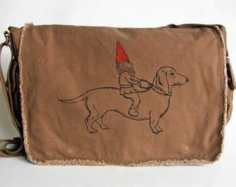 Gnome and Dachshund Messenger Bag--Screen Printed Cotton Canvas Messenger Bag, Valentine Gift, Viva Sweet Love