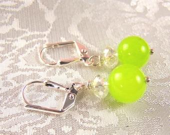 Jade and Crystal Earrings