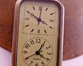 Brass Double Watch Pocket Watch with 18 Inch Brass Chain